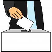 A Man Inserts A Ballot Paper Into The Ballot Box That Stands On The Table. The Voter Votes In The El poster