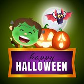 Happy Halloween Postcard Design In Frame With Green Zombie With Makeup Scar, Flying Bat And Ugly Mas poster