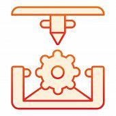 Cogwheel 3d Printing Flat Icon. 3d Printing Mechanics Orange Icons In Trendy Flat Style. Gear 3d Pri poster