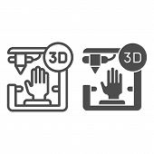 3d Organ Printing Line And Glyph Icon. Bionic Hand Printing Vector Illustration Isolated On White. 3 poster