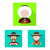 Vector Design Of Nation And Race Logo. Set Of Nation And User Vector Icon For Stock. poster