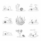Vector Illustration Of Wilderness And Texas Sign. Collection Of Wilderness And Pasture Vector Icon F poster