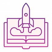 Book And Rocket Flat Icon. Imagination Violet Icons In Trendy Flat Style. Education Rocket Gradient  poster