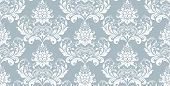 Floral Pattern. Vintage Wallpaper In The Baroque Style. Seamless Vector Background. White And Blue O poster