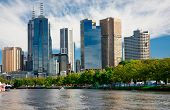 MELBOURNE, AUSTRALIA - MARCH 12: Yarra River and Melbourne skyline during the Moomba Masters watersk