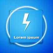 White Lightning Bolt Icon Isolated On Blue Background. Flash Icon. Charge Flash Icon. Thunder Bolt.  poster