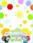 School Background. The First Of September. Happy Schoolchildren With Schoolbags, Flowers And Colorfu poster