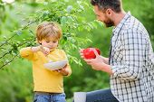 Father Teach Son Eat Natural Food. Little Boy And Dad Eat. Nutrition Kids And Adults. Organic Nutrit poster