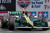 LONG BEACH - APRIL 17: Takuma Sato driver of the #5 KV Racing Technology - Lotus Dallara Honda races