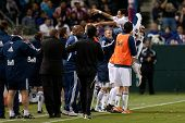 CARSON, CA. - JUNE 1: Vancouver Whitecaps FC F Camilo #37 celebrates a goal during the MLS game betw