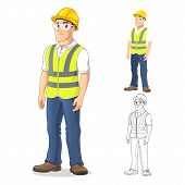 Man With Safety Gear Standing Straight, With His Arms By His Side, Cartoon Character Design, Includi poster