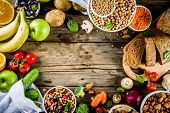 Healthy Food. Selection Of Good Carbohydrate Sources, High Fiber Rich Food. Low Glycemic Index Diet. poster
