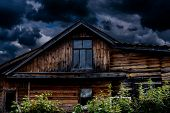 Country Dacha. Moody Old Rustic Farm House. Authentic Wooden Shed poster
