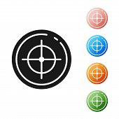 Black Target Sport For Shooting Competition Icon Isolated On White Background. Clean Target With Num poster