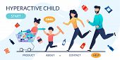 Landing Page With Hyperactive Children And Parents. Cartoon Disobedient, Naughty, Rowdy Kids Fool Wi poster