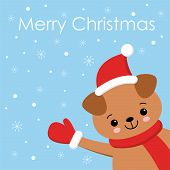 Little Puppy Card. Young Funny Dog. Cute Brown Playful Puppy In Hat As Santa Claus. Clipart Vector I poster