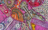 Bright Fabric. Indian Fabric With Ornament. Fabric Background. poster