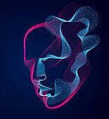 Beautiful Vector Human Face Portrait, Artistic Illustration Of Man Head Made Of Dotted Particles Arr poster