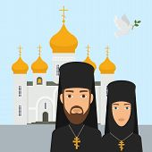 Orthodox Christianity Religion Vector Illustration. Priest And Nun With Cross And Orthodox Christian poster