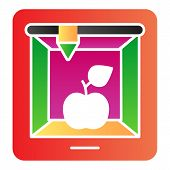 3d Food Printing Flat Icon. 3d Apple Print Color Icons In Trendy Flat Style. 3d Meal Printing Gradie poster