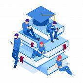 Isometric Online Education, Training, Online Learning, Webinar, Online Education, Business Training. poster