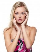 pic of female model  - Portrait of beautiful female model on white background - JPG