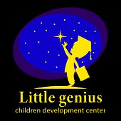 Little Genius, Children Development Center Logo. A Little Boy In A Scientists Hat, With A Book In Hi poster