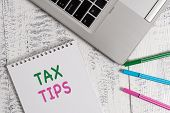 Word Writing Text Tax Tips. Business Concept For Compulsory Contribution To State Revenue Levied By  poster