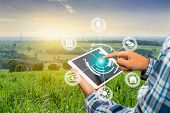 Innovation Technology For Smart Farm System, Agriculture Management, Hand Holding Smartphone With Sm poster