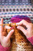 Woman Crochets. Handwork. Crochet Hook. Female Hands Closeup. Female Hands Hold The Hook. Vintage Ca poster