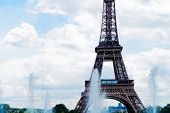 Eiffel Tower With Trocadero Fountains Close Up At Summer, Paris, France poster