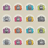 Cute Photo Camera Character In Cartoon Style. Smiley Camera With Speech Bubble. Smile Photography Cu poster