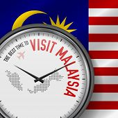 The Best Time To Visit Malaysia. Travel To Malaysia. Tourist Air Flight. Waving Flag Background And  poster