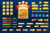 Big Set Buttons Icons Elements For Space Game Cartoon Casual Games And App. 2d Video Game Ui Kit Ico poster