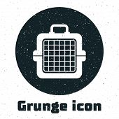 Grunge Pet Carry Case Icon Isolated On White Background. Carrier For Animals, Dog And Cat. Container poster