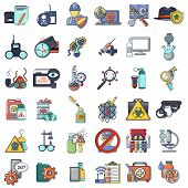Spying Poison Icons Set. Cartoon Set Of 36 Spying Poison Vector Icons For Web Isolated On White Back poster