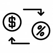 Lease Money Convert Icon. Outline Lease Money Convert Vector Icon For Web Design Isolated On White B poster