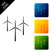 Wind Turbine Icon Isolated On White Background. Wind Generator Sign. Windmill Silhouette. Windmills  poster
