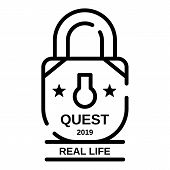 Padlock Quest Real Life Icon. Outline Padlock Quest Real Life Vector Icon For Web Design Isolated On poster