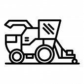Combine Harvester Icon. Outline Combine Harvester Vector Icon For Web Design Isolated On White Backg poster