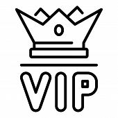 Vip Crown Icon. Outline Vip Crown Vector Icon For Web Design Isolated On White Background poster
