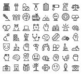 Depression Icons Set. Outline Set Of Depression Vector Icons For Web Design Isolated On White Backgr poster