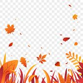 Autumn Grass Border With Falling Leaves Vector Background. Red Orange Autumn Plants. Fall Decoration poster