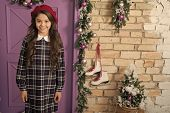 In Love With French Style. Small Model With Fashion Look. Little Fashionista On Christmas. Fashion G poster