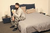 Calorie Snack. Man Bearded Hipster Sleepy Face Pajamas Waking Up Bedroom Interior. Healthy Lifestyle poster