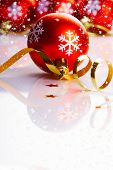 stock photo of reveillon  - Christmas background with red balls - JPG