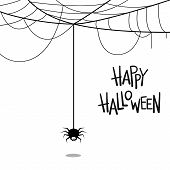 Happy Halloween Text Banner. Vector Lettering. Holiday Calligraphy With Spider And Web For Banner, P poster