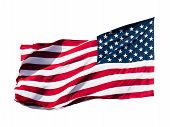 foto of american flags  - highly detailed image of american flag over white background - JPG
