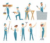 Workers. Male And Female Builders Professional Constructors At Work Vector Mascot Design. Man Work C poster