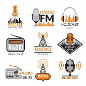 Radio Logo. Podcast Towers Wireless Badges Radio Station Symbols Vector Collection. Illustration Wir poster